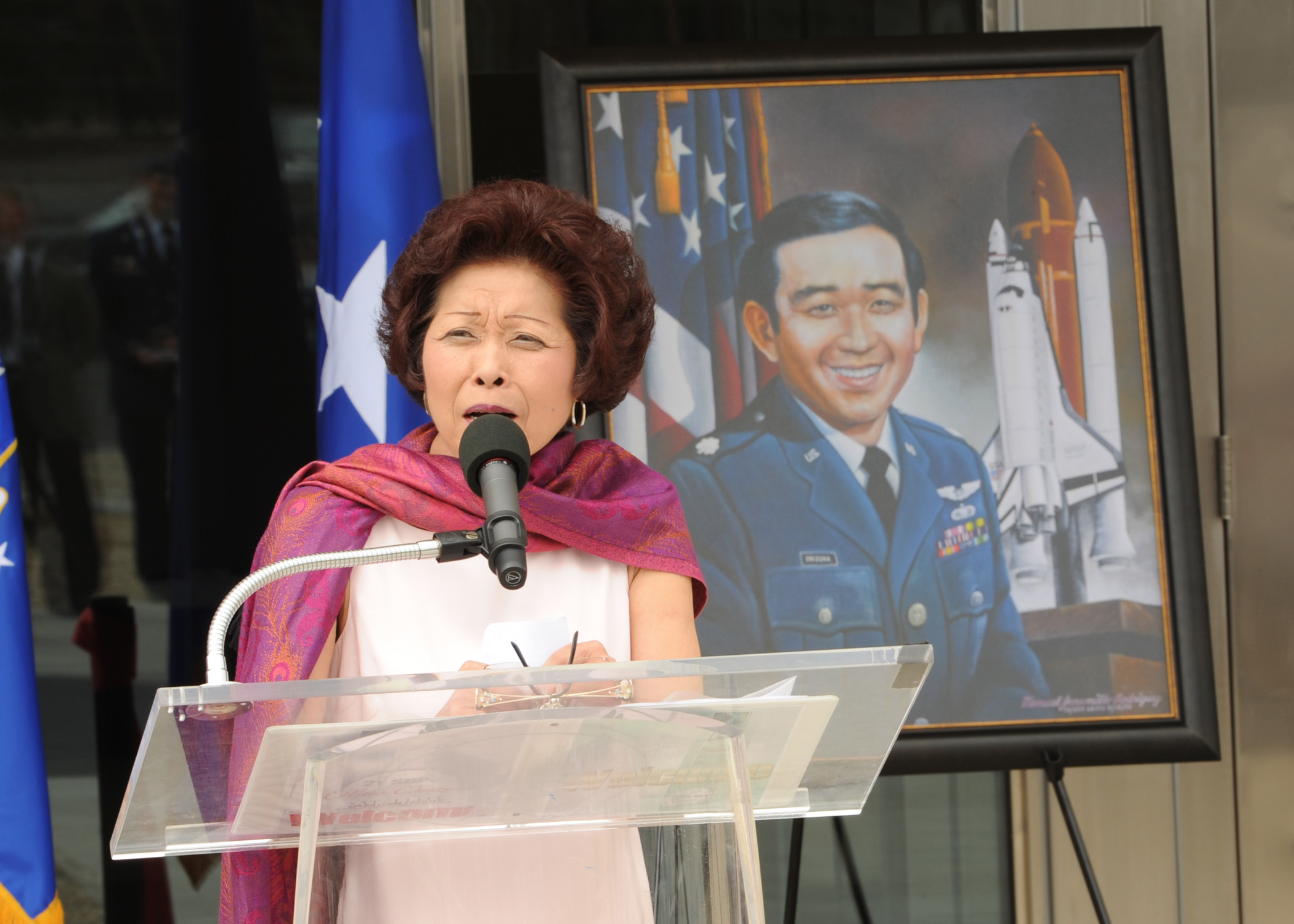 Lorna Onizuka, widow of Col. Ellison Onizuka, delivered a speech at the dedication of the Ellison Onizuka Satellite Operations Facility at Vandenberg Air Force Base in California in July 2010. (U.S. Air Force Photo/Senior Airman Bryan Boyette)