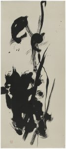 """Abstract Calligraphy,"" ink on paper by Saburo Hasegawa (Japanese, 1906-1957), c. 1955–57. San Francisco Museum of Modern Art, Gift of Joseph Brotherton. © Estate of Saburo Hasegawa. Photograph: Don Ross."
