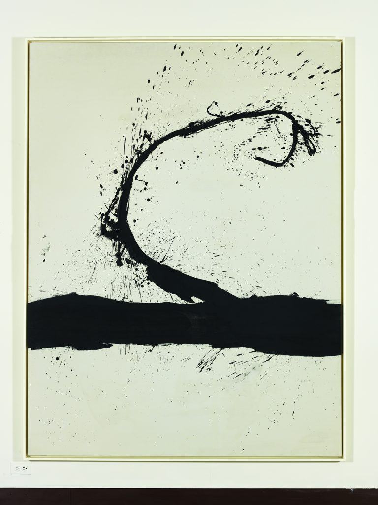 """""""Untitled,"""" (1963) oil on canvas by Robert Motherwell (American, 1915-1991). Honolulu Museum of Art, Gift of The Contemporary Museum, Honolulu, 2011, and purchased with funds given by Persis Corporation and gift of the Dedalus Foundation (TCM.1997.1). Art © Dedalus Foundation/Licensed by VAGA, New York, NY."""