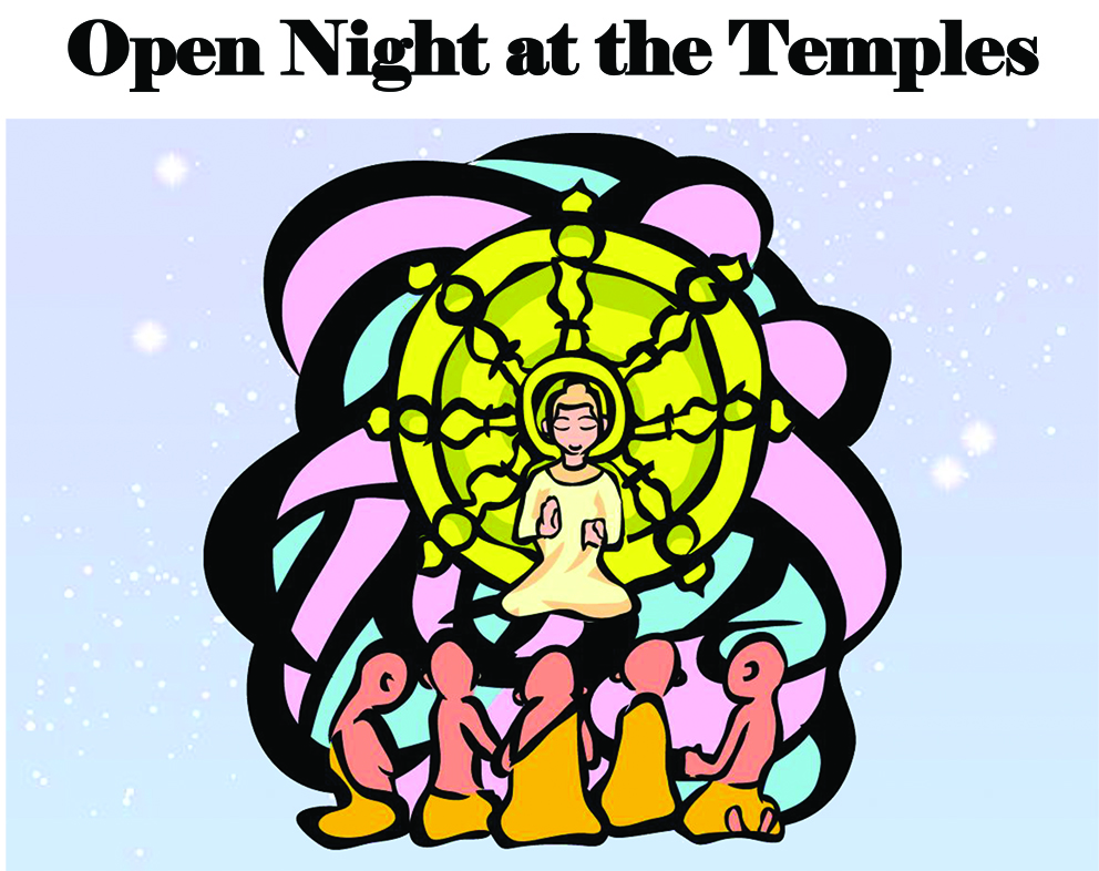 Graphic of Open Night at the Temple on behalf of the Hawaii Buddhist Council