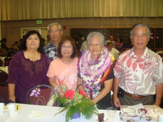 Mildred Kobashikawa surrounded by her four adult children (from left) — Ruby Arasato, Peter Kobashikawa, Leilani Agena, mom Mildred and Fred Kobashikawa.