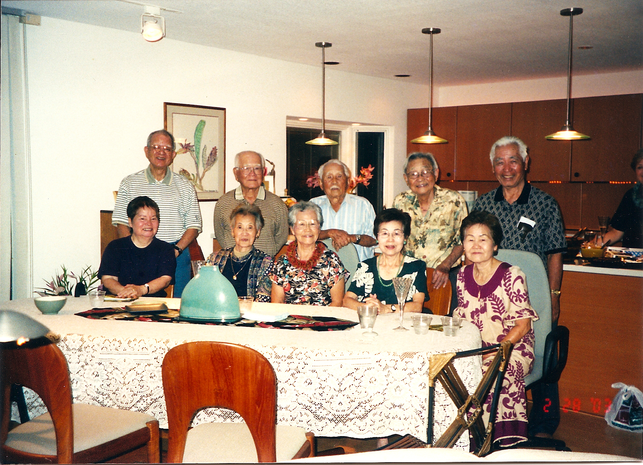 Mildred and Tom Kobashikawa, pictured here with her siblings and their spouses, enjoyed 67 years of marriage, until he passed in 2006. From left: sister Ethel and Harold Isa, sister-in-law Yoshiko and brother Ted Oshiro, Mildred and Tom Kobashikawa, sister Nora and Kenneth Chibana, and sister Patsy and Harold Afuso. (Photo courtesy Karen Fuse)