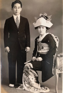 Young Tom and Mildred Kobashikawa with Mildred dressed in a formal wedding kimono. (Photos courtesy Kobashikawa family)