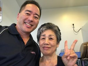 """Visiting with Fukue Takayesu at her soba shop in Urasoe. Fukue-san began calling me her """"musuko-san"""" — her son — after I helped her find her husband's family's ohaka in Hilo."""