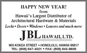 Ad for JBL Hawaii, LTD. wishing a Happy New Year