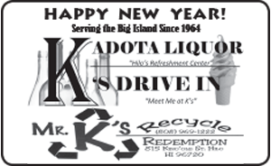 Ad for K's Drive In and Kadota Liquor, wishing A Happy New Year