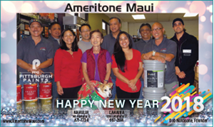 Ad wishing Happy New Year on behalf of Ameritone Maui