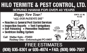 Ad for Hilo Termite and Pest Control, LTD.