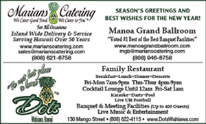 Ad for Marian's Catering, with location and contact info (Manoa Grand Ballroom) and wishing A Happy New Year