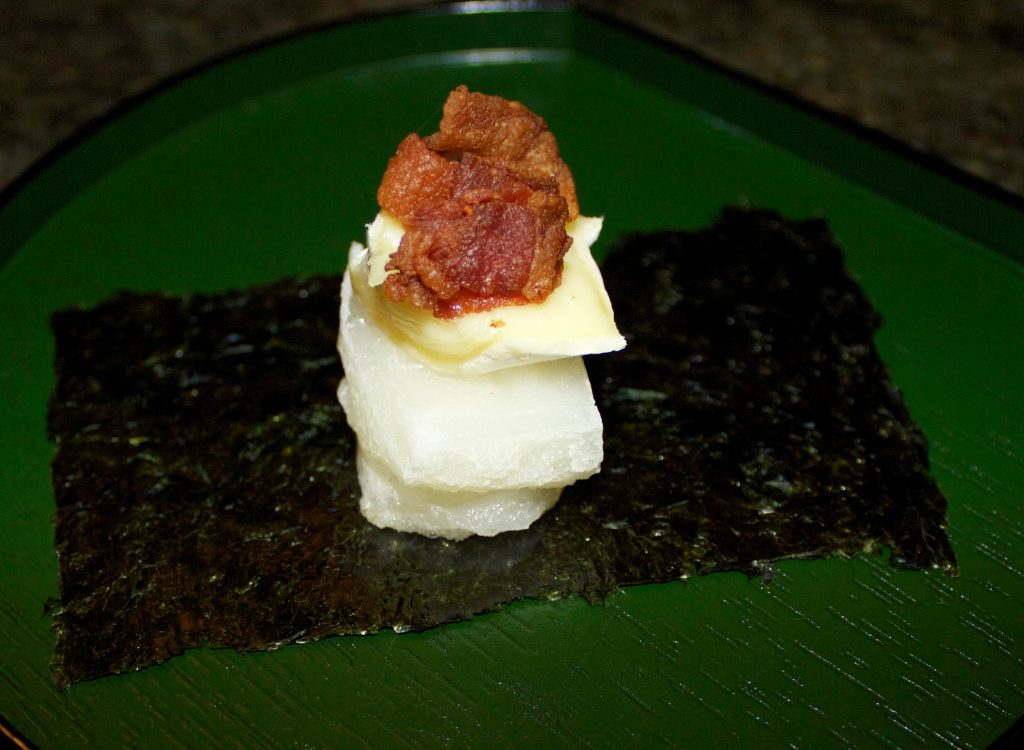 Mochi topped with bacon.