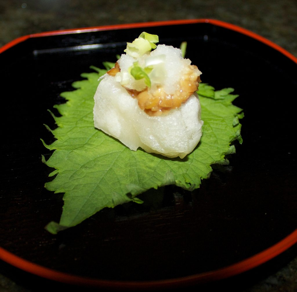 Mochi topped with natto and daikon. (Photos by Chloe Suzuki)