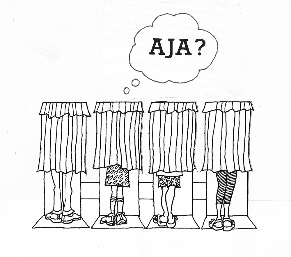 "Illustration by Arthur Kodani - of voter booths with callout bubble reading ""AJA?"""