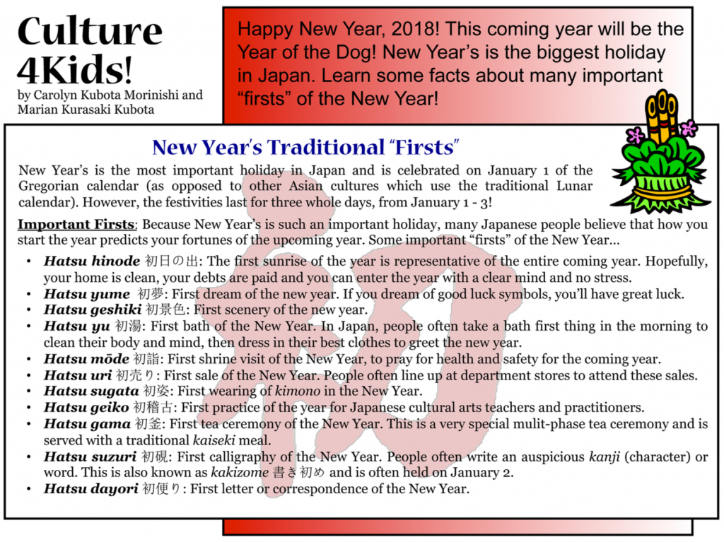 "Culture4Kids! New Year's Traditional ""Firsts"""