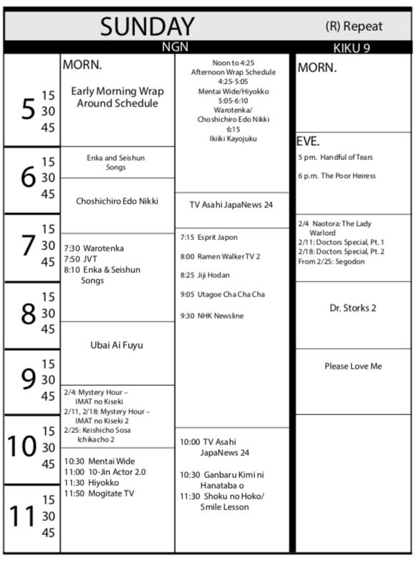 TV Program Schedule Jan. Issue - Sunday