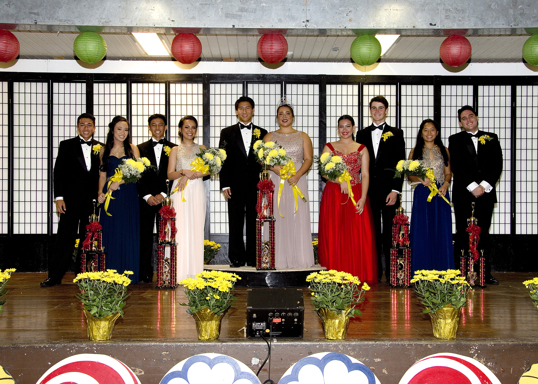 The 2017 Chrysanthemum Festival Court and their escorts: Princess Kristi Echiverri and Kawika Fernandez, Princess Jaelynn Nobriga and Logan Cabanilla-Aricayos, Queen Paige Maki Nagahama and Kai Iinuma Nakaaki, Princess Makaylen Tadeo and John Williamson, and Princess Sokha Furumoto and Caleb Perreira. (Photo by Nagamine Photo Studio)