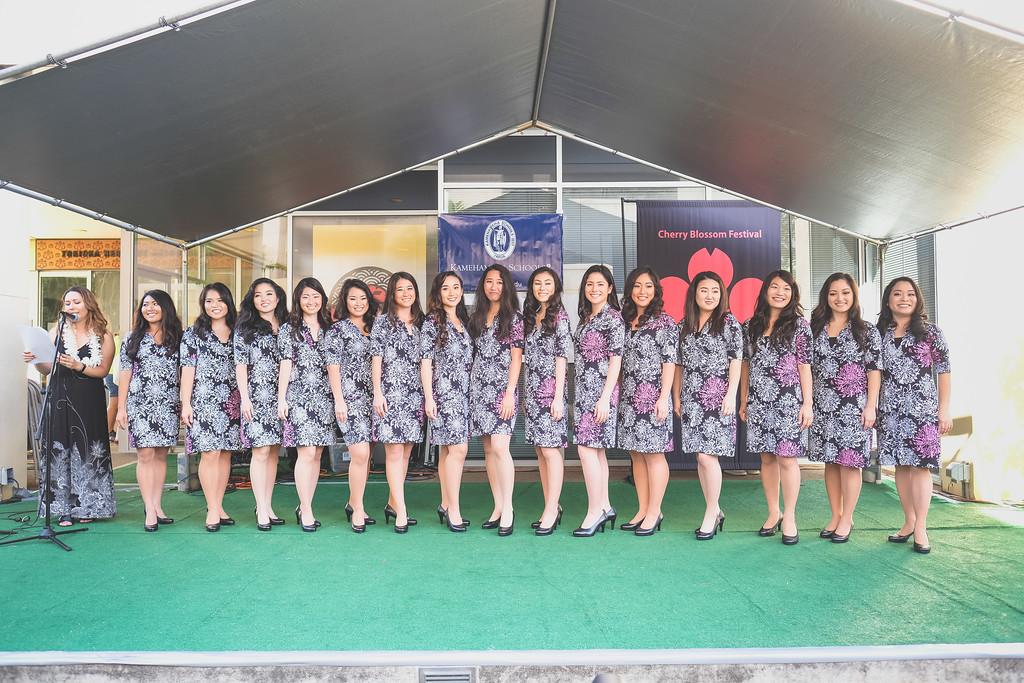 The 66th Cherry Blossom Festival contestants were introduced at the Ohana Festival. They are (from left): Mika Nakashige, Colette Masunaga, Kristen Yamamoto, Kaydi Hashima, Rhianna Taniguchi, Ariel Stenek, Melanie Carrié, Joy Nakahara, Kylie Hisatake, Chelsea Briggs, Cindy Nakagawa, Renni Iwasa, Karly Kaneshiro, Shelby Meador and Jordie Ocenar. (Photo courtesy Cherry Blossom Festival)