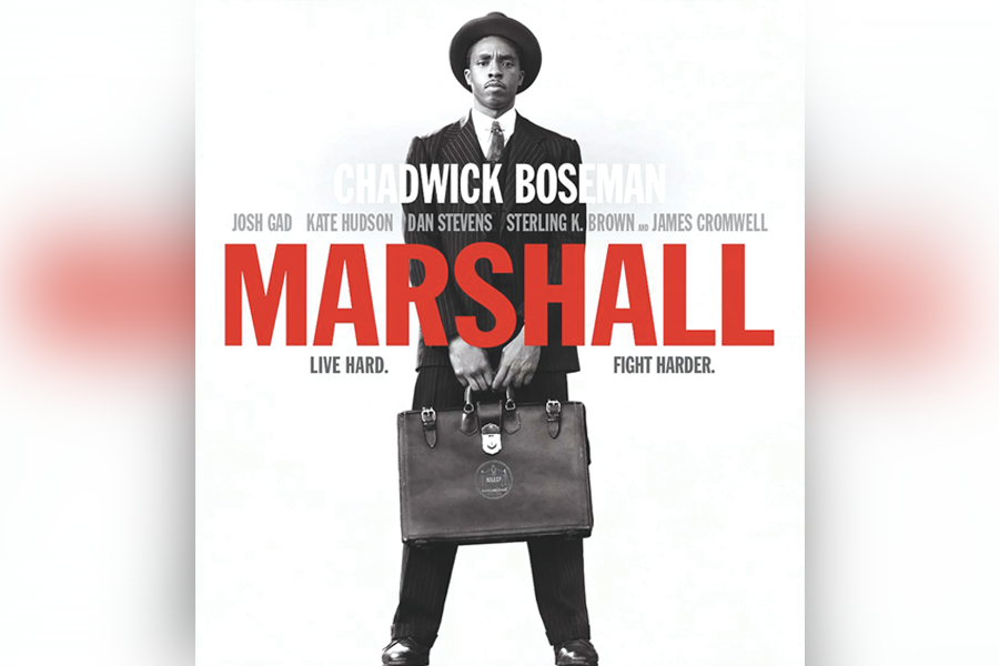 "Movie cover for ""Marshall"" in celebrating Black History Month"