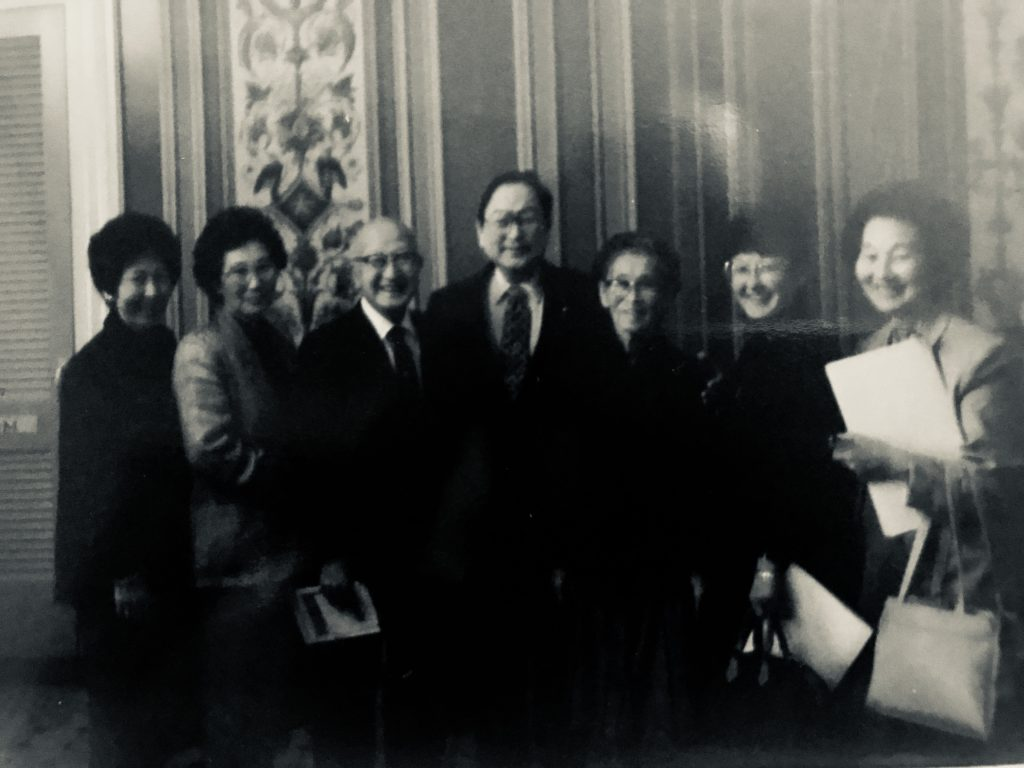 "During a visit to Washington, D.C., Shigeo and Shizume Muroda met with then-U.S. Sen. Spark Matsunaga and took this group photo. From left: daughters Marguerite Nobuhara, Reginia Hakoda, Shigeo ""Robert"" Muroda, Sen. Matsunaga, Shizume Muroda, and daughters Nancy Nakashima and Lillian Hasegawa. Not pictured: daughter June Hanabusa and hänai son Carl Muroda."