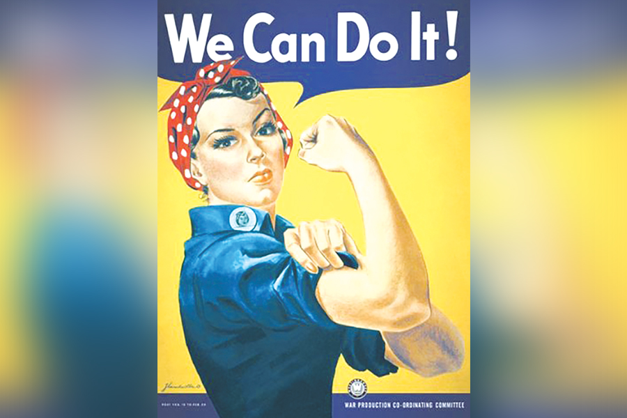 "Graphic of working women's icon, Rosie the Riveter, stating ""We can do it!"""