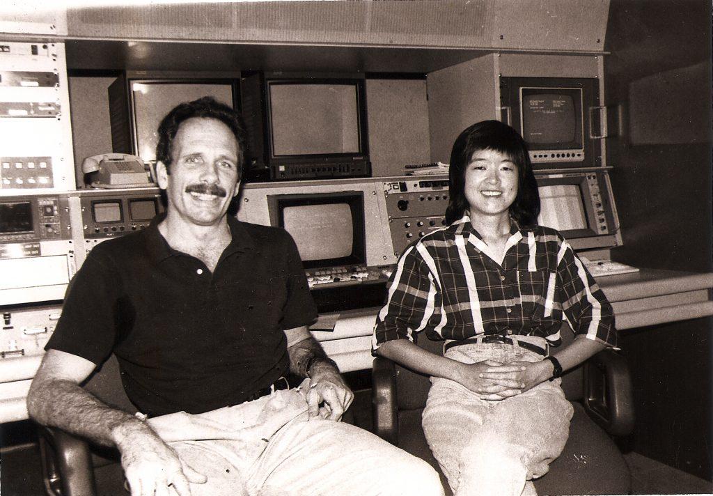 """Rice and Roses"" producer Chris Conybeare and director Joy Chong-Stannard, circa 1980. (Hawai'i Herald archives)"
