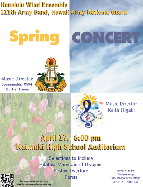 Promotion for Spring Concert - April 17 at 6:00pm, Kaimuki High School Auditorium