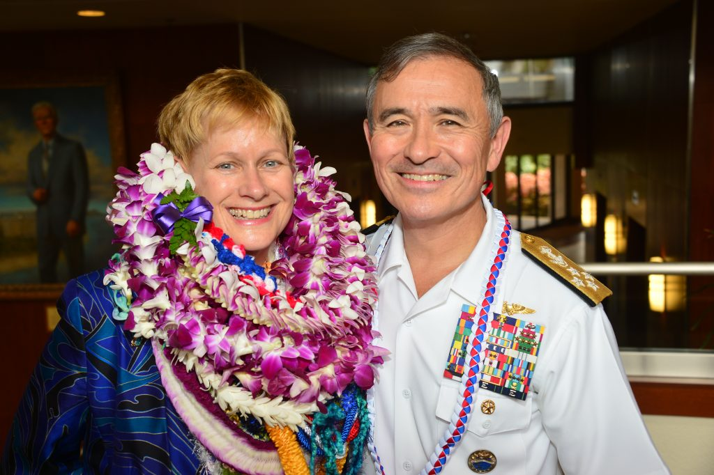 The guests of honor Bruni Bradley and Adm. Harry Harris. (Photo by Pat Thomson)