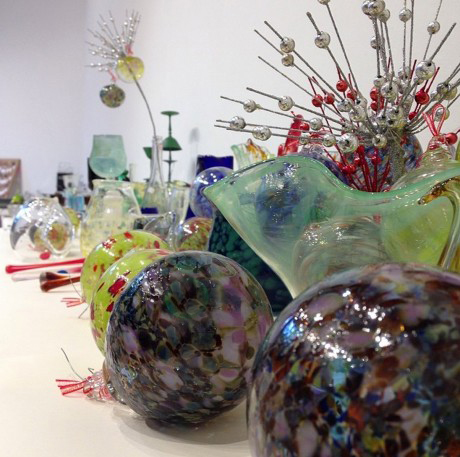 Glass products on display at University of Hawai'i at Manoa's annual Mother's Day Ceramic Glass Sale