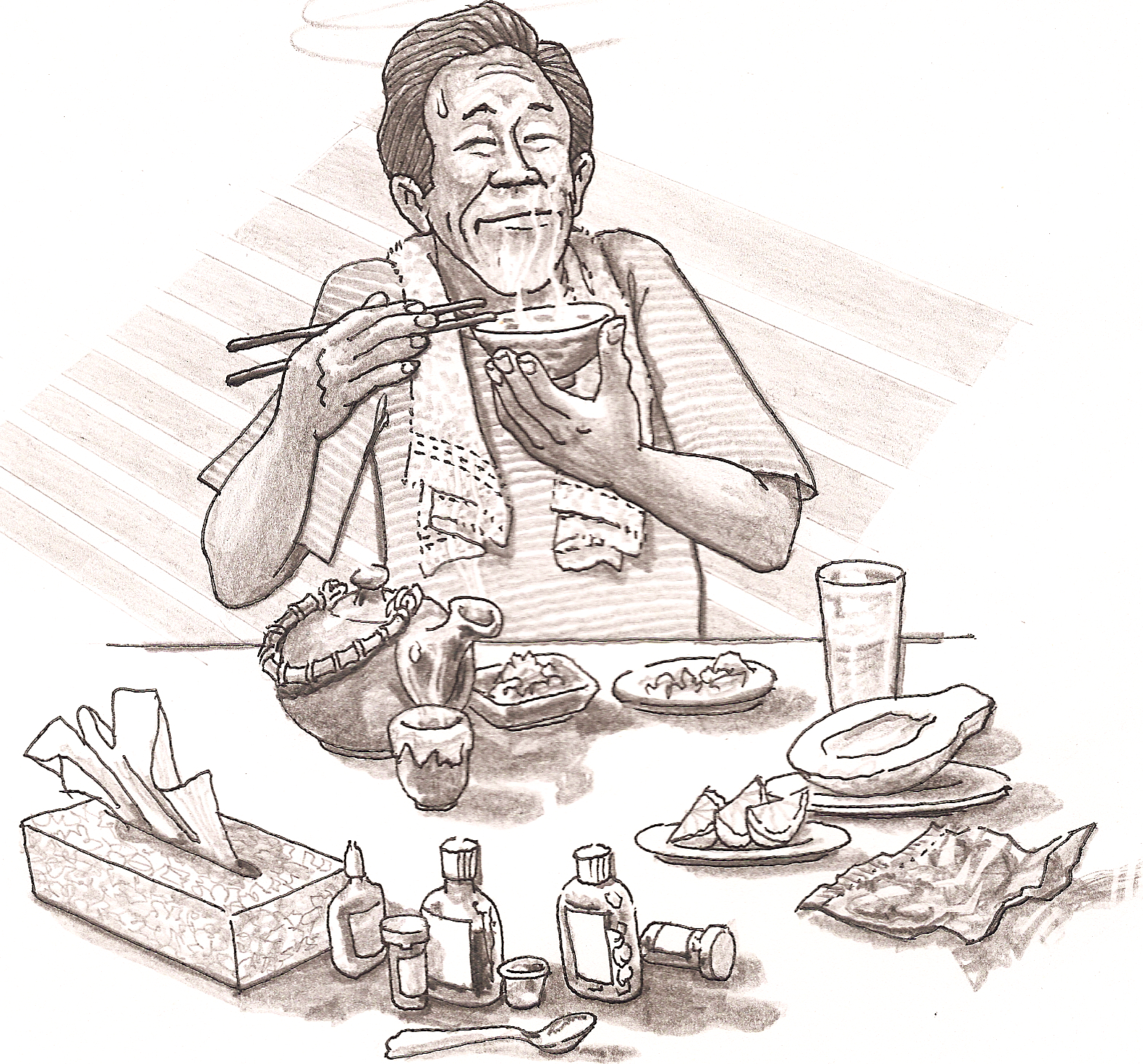 Graphic of a man eating meal with chopsticks, enjoying the aroma of his bowl of soup