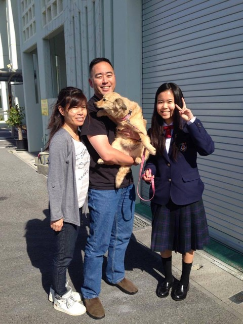 Feb. 19, 2015 — the beginning of Hana's new life with our family, from left: wife Keiko and daughter Mizuki. Not pictured is son Yoshiaki. (Photos courtesy Colin Sewake)