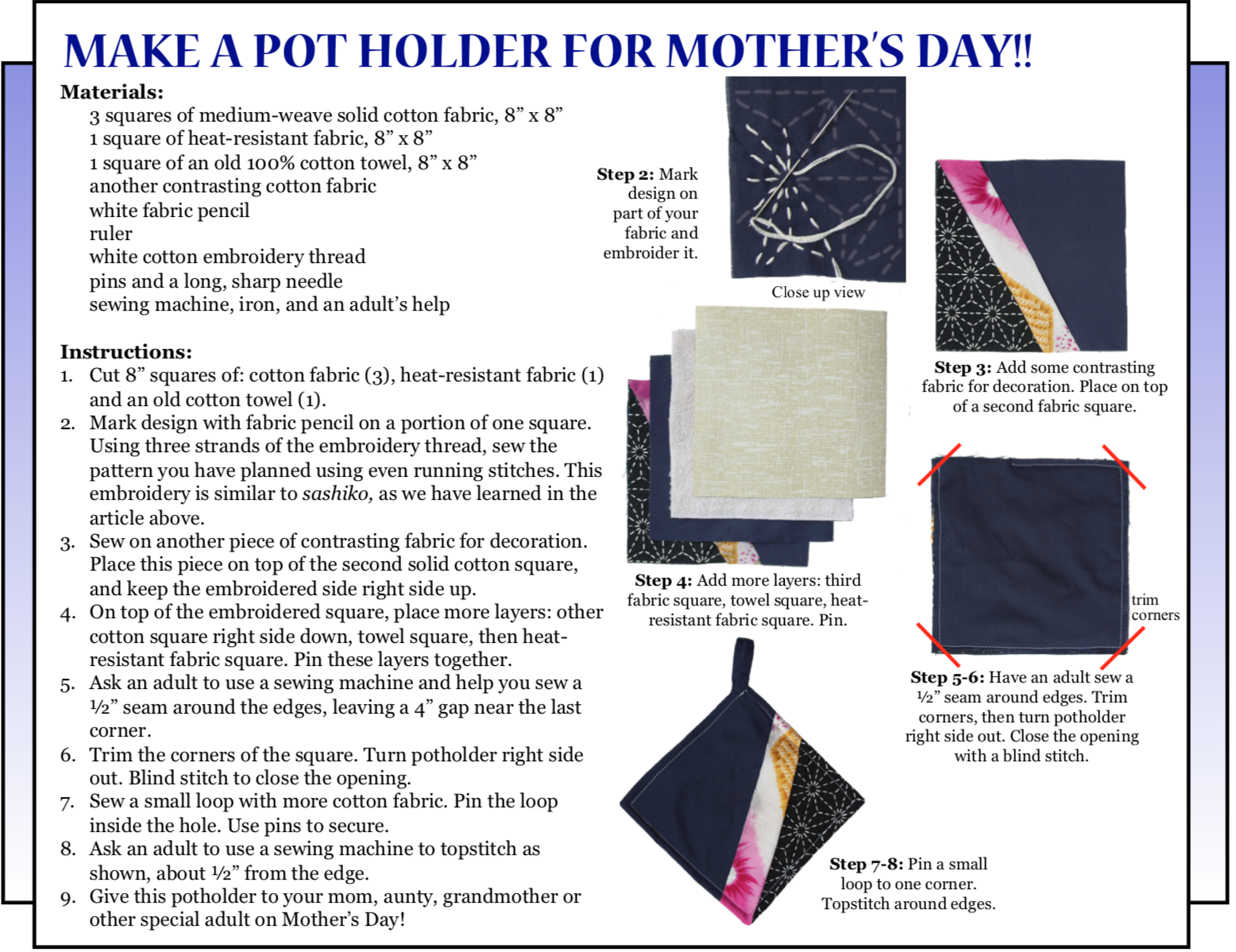 """Culture4Kids! """"Make a Pot Holder for Mother's Day!!"""""""