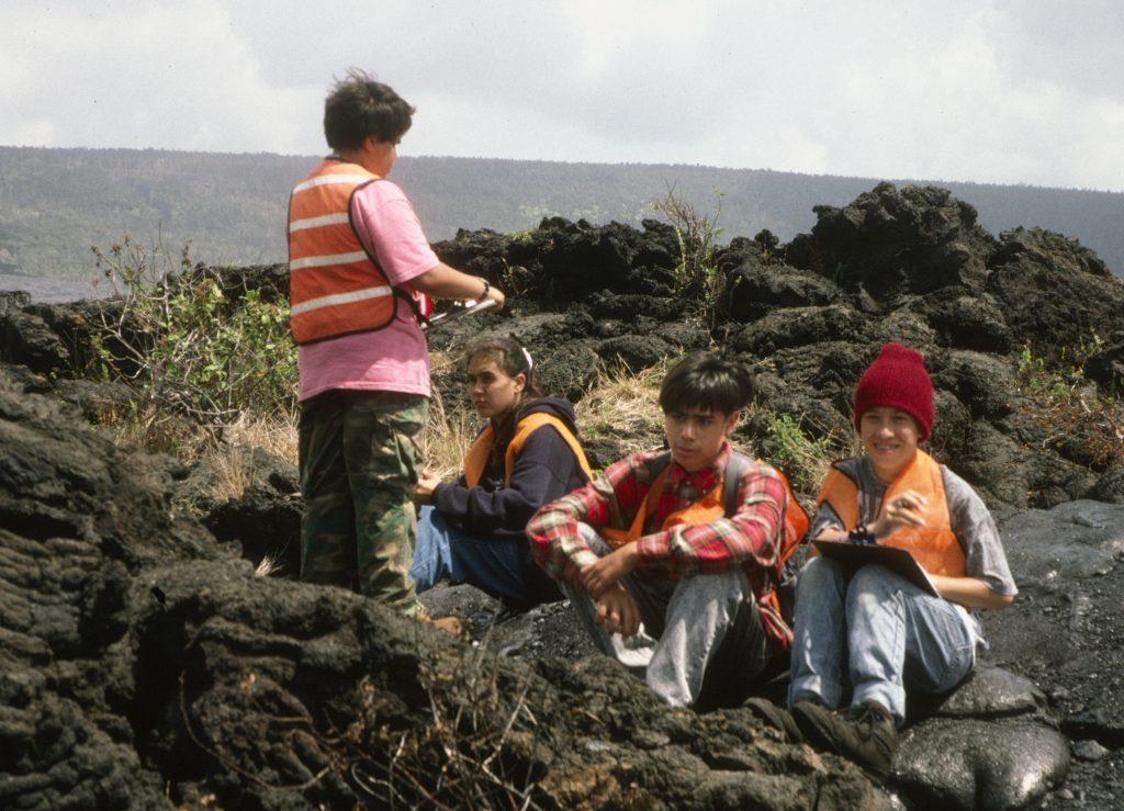 This 1995 photo Kevan Kamibayashi (sitting center in plaid shirt) at one of the Nä Pua No'eau summer programs he attended at Hawai'i Volcanoes National Park. (Photos courtesy Kevan Kamibayashi)