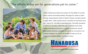 Ad for Colleen Hanabusa