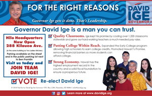 Ad for Governor David Ige 'Governor Ige is a man you can trust'