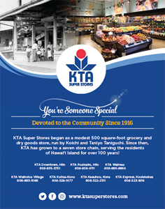 Ad for KTA Super Stores, featuring the 150th Anniversary of the Gannenmono's Arrival in Hawaii