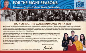 Ad for David Ige, featuring the 150th Anniversary of the Gannenmono's Arrival in Hawaii