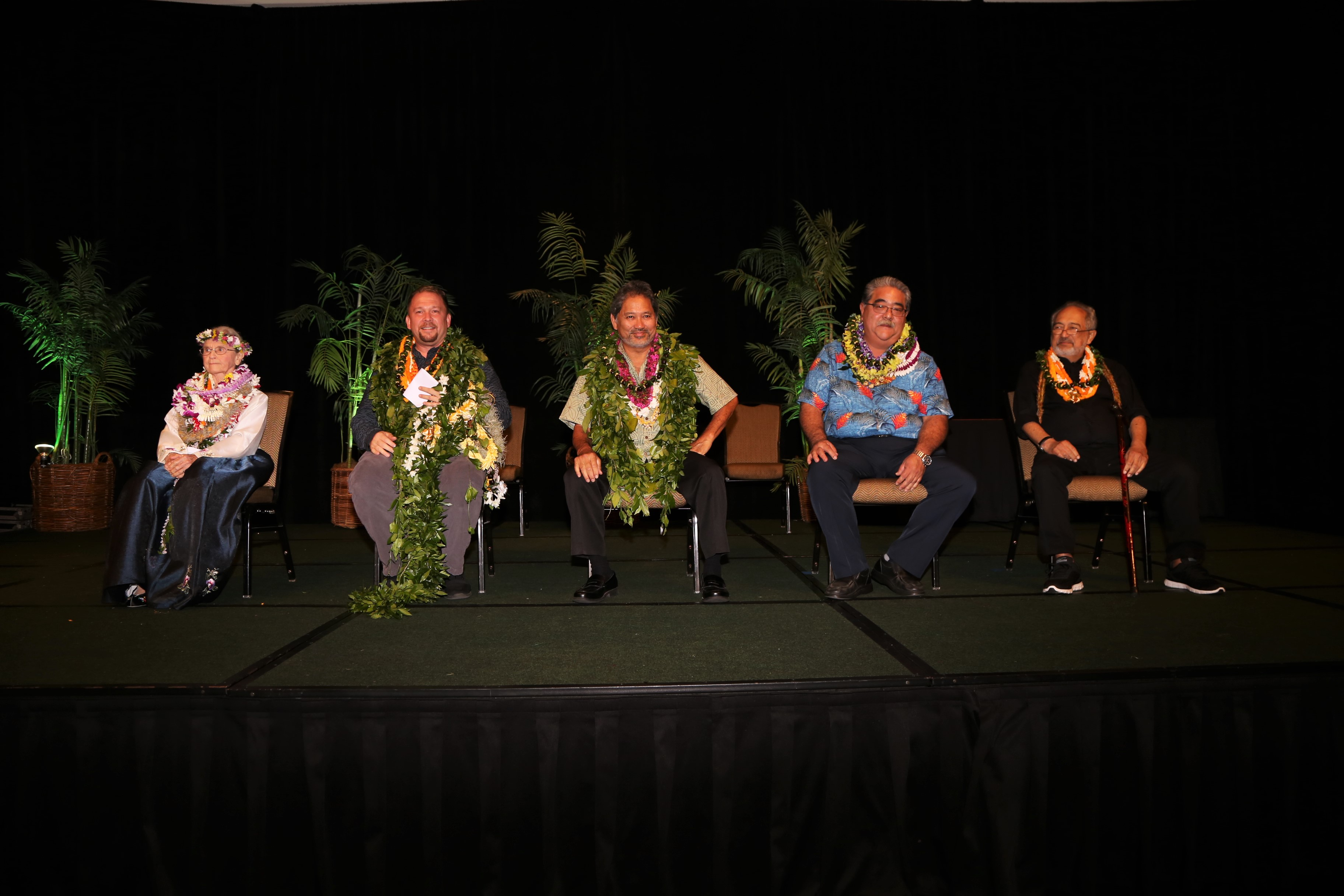 "The 2018 ""Living Treasures of Hawai'i"" — (from left): Mary Jo Freshley; Hailama Farden; Gordon ""Umi"" Kai; Nelson Higa, representing his father Takejiro Higa; and Dr. Mitchell Eli. (Photo by Alan Kubota)"