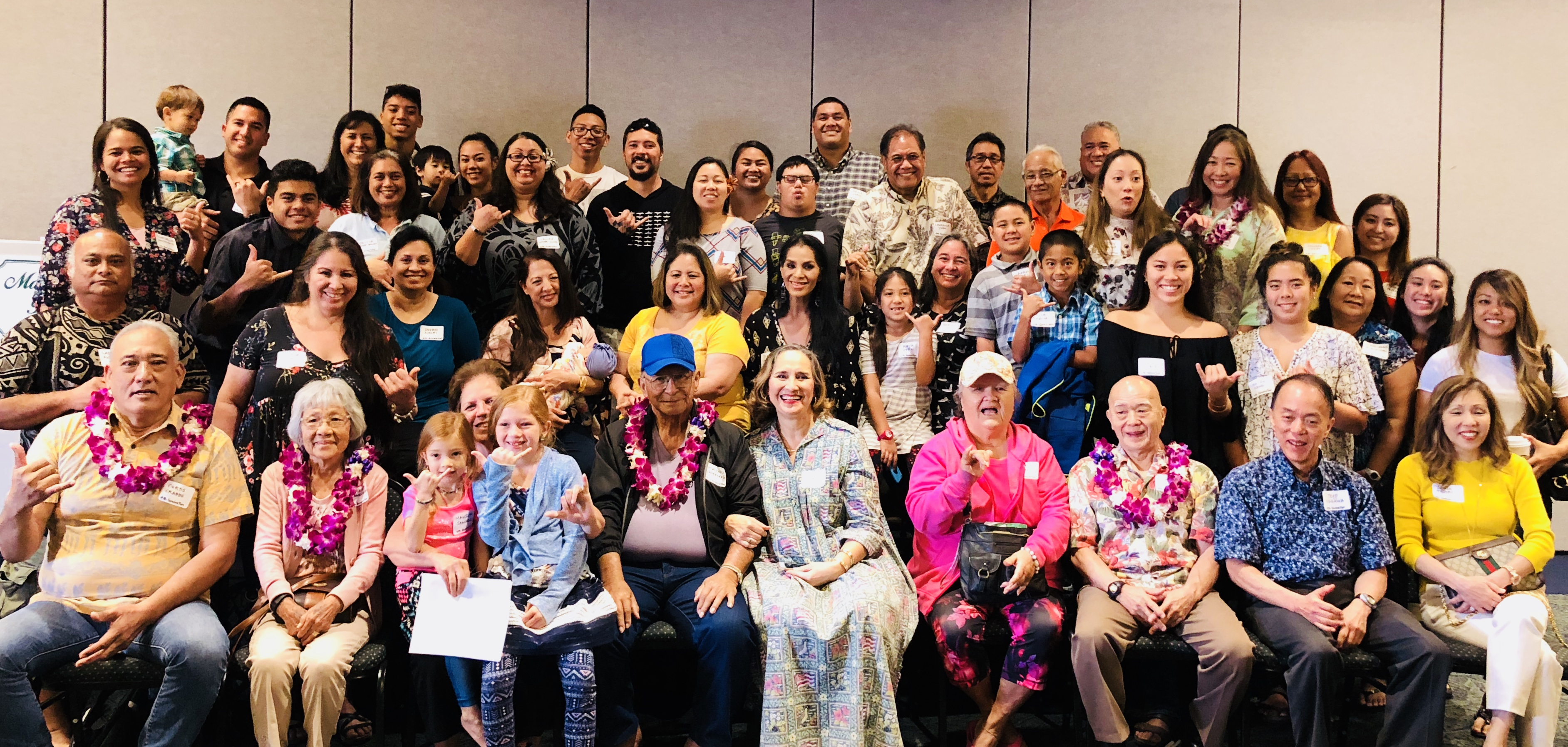 Nearly 60 descendants — third, fourth, fifth and even sixth generations — of Gannenmono Tokujiro Sasaki Sato gathered at the Japanese Cultural Center of Hawai'i earlier this year to celebrate their Gannenmono roots. (Photo by Carole Hayashino)
