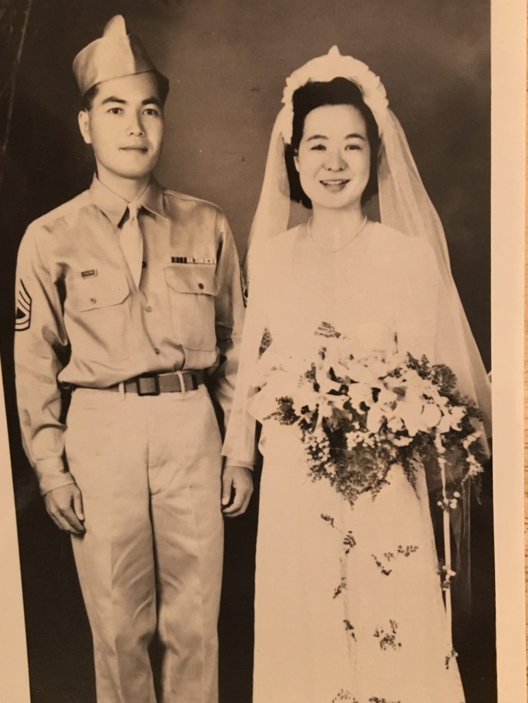 Ernest and Shizue Watanabe on their wedding day in May 1945. (Photo courtesy Watanabe family)