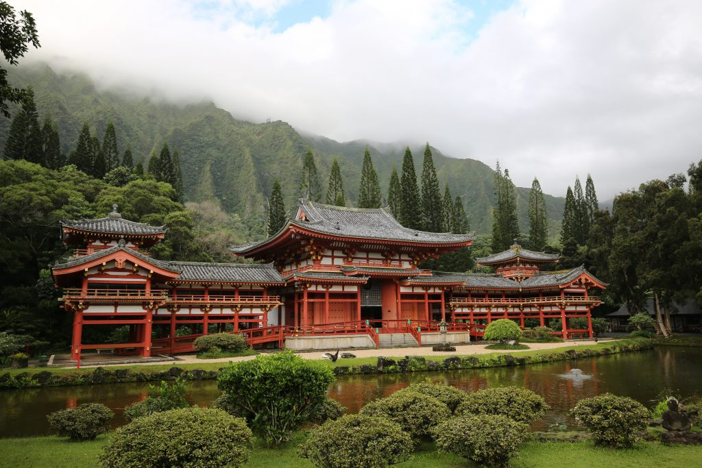 The Byodo-In temple in Käne'ohe was built in 1968 to commemorate the centennial of the arrival of the Gannenmono. (Courtesy Byodo-In)