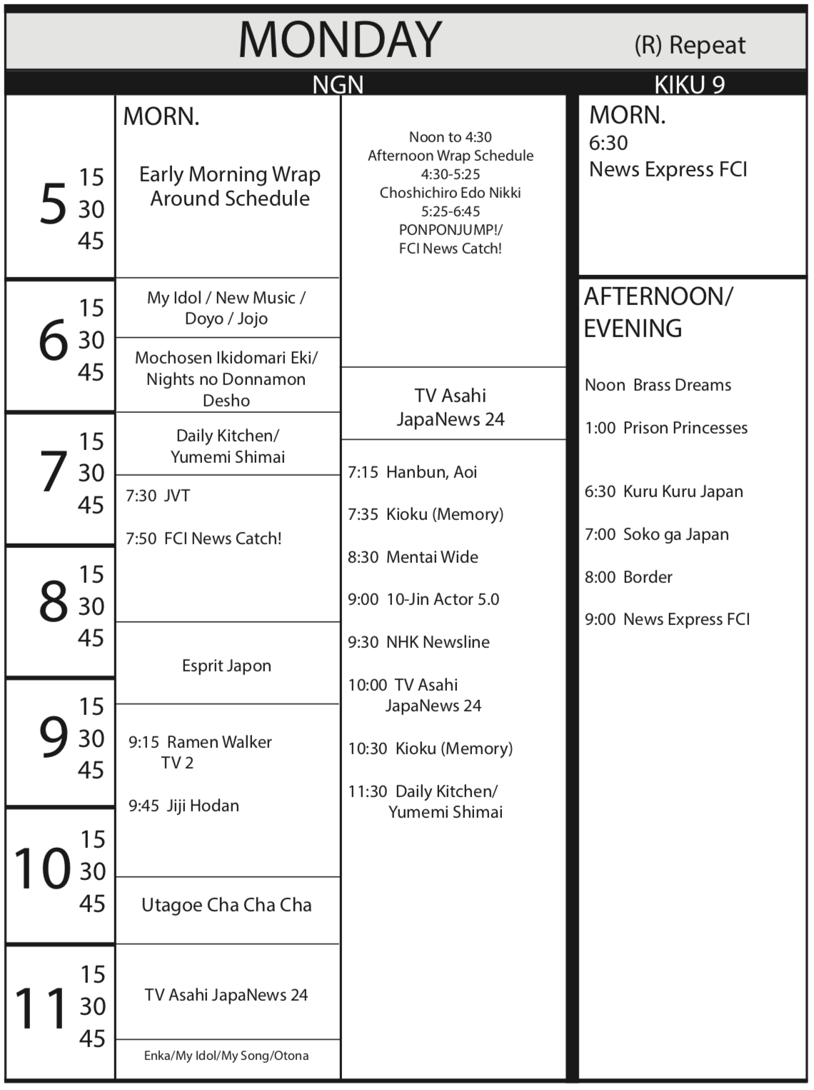 TV Program Schedule June 15, 2018 Issue - Monday