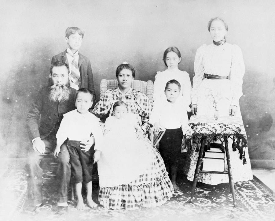 Matsugoro Kuwata, one of the 149 Gannenmono who arrived in Hawai'i in 1868, married a Hawaiian woman named Meleana. In this circa 1899 photo, they are pictured with their six children.