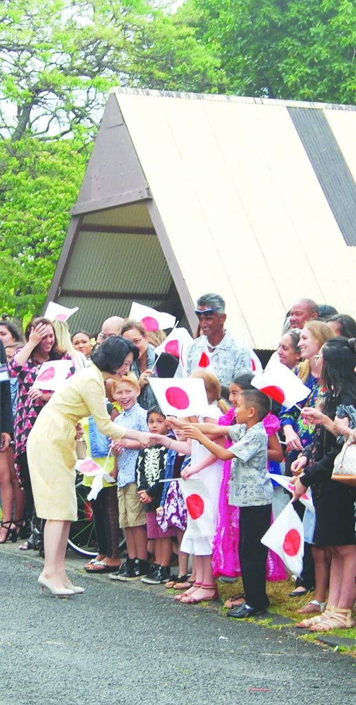 Descendants of the Gannenmono waited excitedly at the Bishop Museum to greet the imperial couple. Princess Kiko was happy to meet the keiki descendants of the Gannenmono.