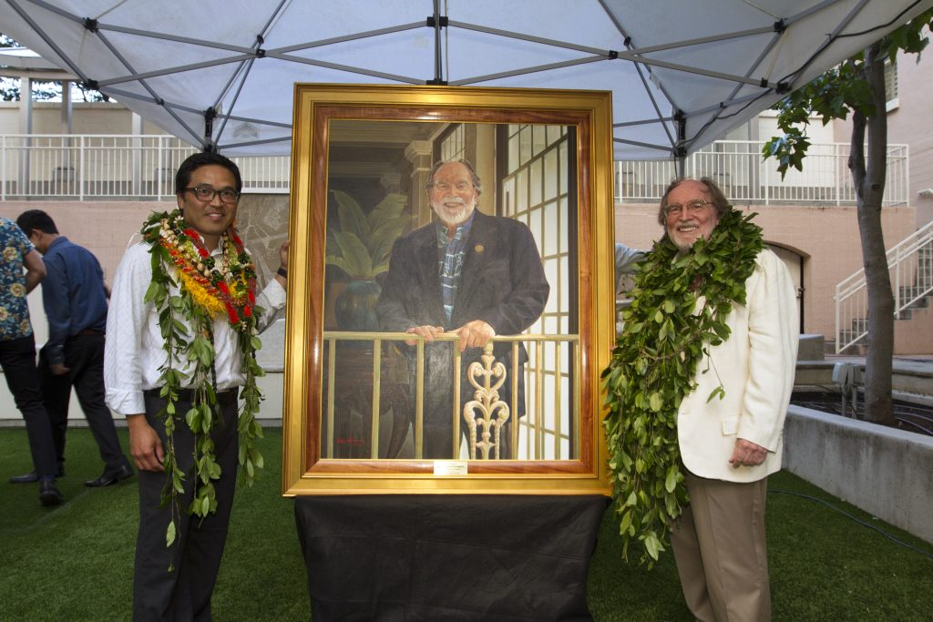 Maui artist Kirk Kurokawa with former Gov. Neil Abercrombie in the sculpture garden of the Hawaii State Art Museum in July 2017 following the unveiling of Abercrombie's official portrait. Abercrombie selected Kurokawa to paint his official portrait. (Photo by Shane Tegarden)