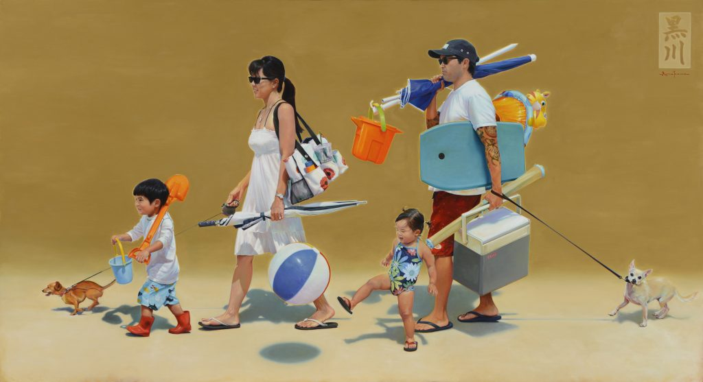 """Me and My Homies"" — Kirk Kurokawa's portrait of his family walking to the beach together won the Marian Freeman People's Choice Award in the 2015 Maui Arts & Cultural Center Schaefer Portrait Challenge."