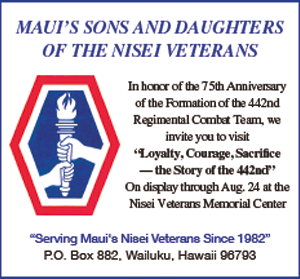 Ad for Maui's Sons and Daughters of the Nisei Veterans