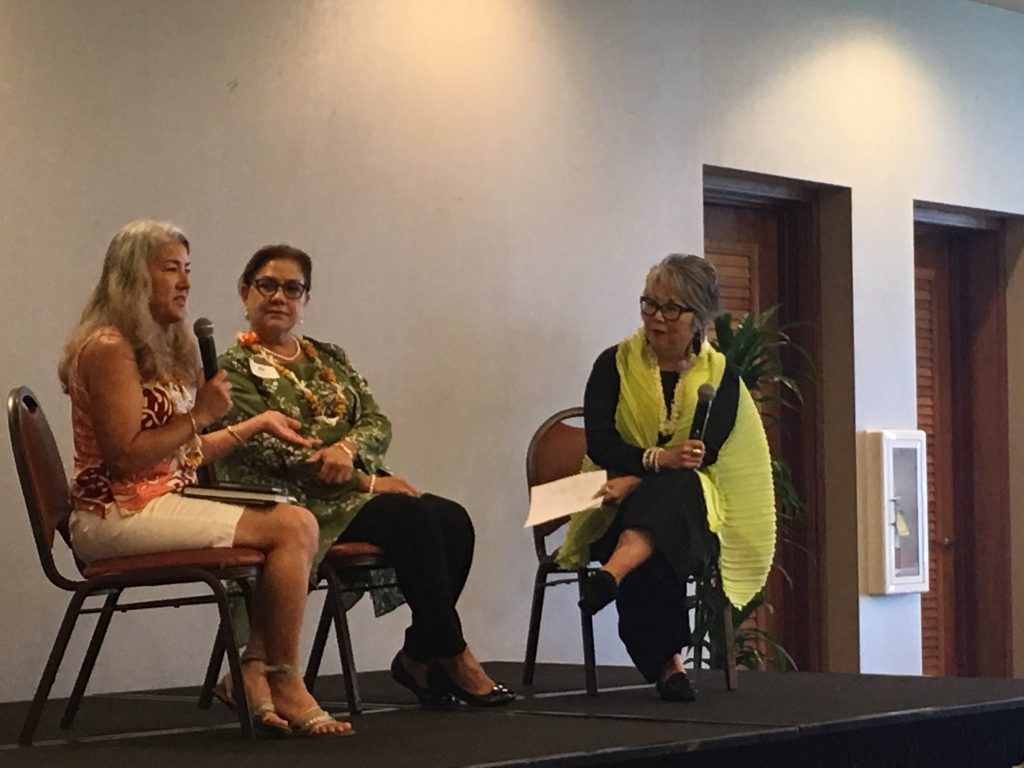 Carole Hayashino, JCCH president and executive director (far right), interviews Gannenmono descendants Lorrie Ann Santos (far left) and Keone Cook (middle). Santos, a fifth generation descendant of Gannenmono Tokujiro Sato, said her great-great-grandfather could not have foreseen the impact he would leave on the lives of his descendants.
