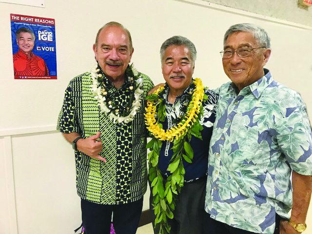 Incumbent Gov. David Ige with supporters former Gov. John Waihee (left) and Hawaii County Mayor Harry Kim. (Photo courtesy Ige for Governor campaign)