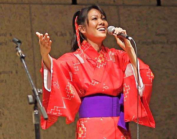 "Allison Arakawa Sears performing ""Bashofu"" at the Japanese American National Museum in Los Angeles."