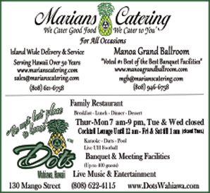 Ad for Marian's Catering