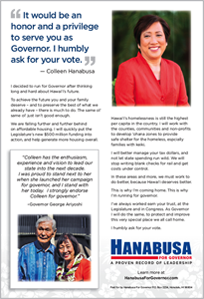 Ad for Governor Candidate, Colleen Hanabusa